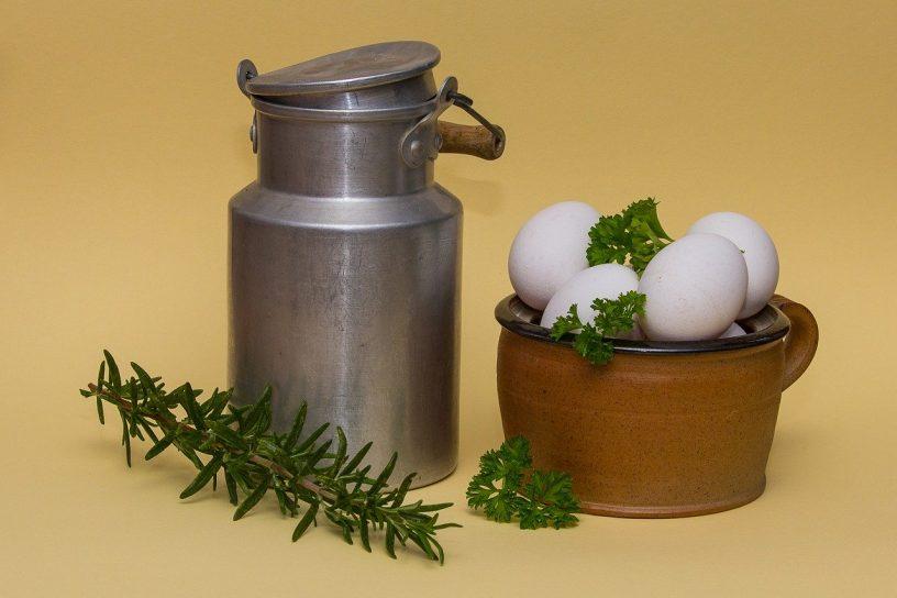 milk jug next to eggs
